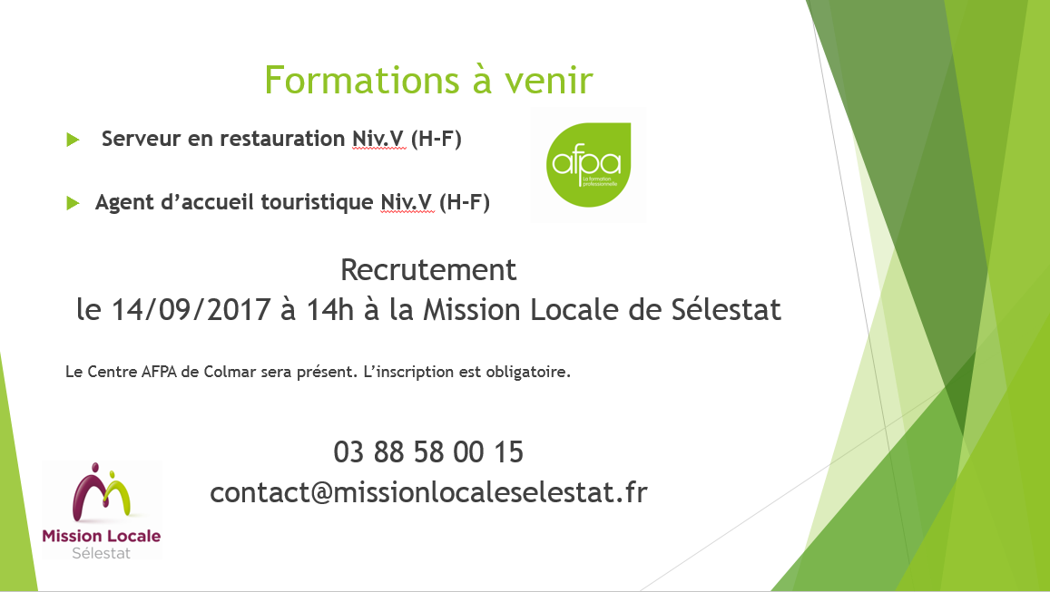 Information Collective Formations AFPA - 14/09/2017 à 14h @Mission Locale de Sélestat
